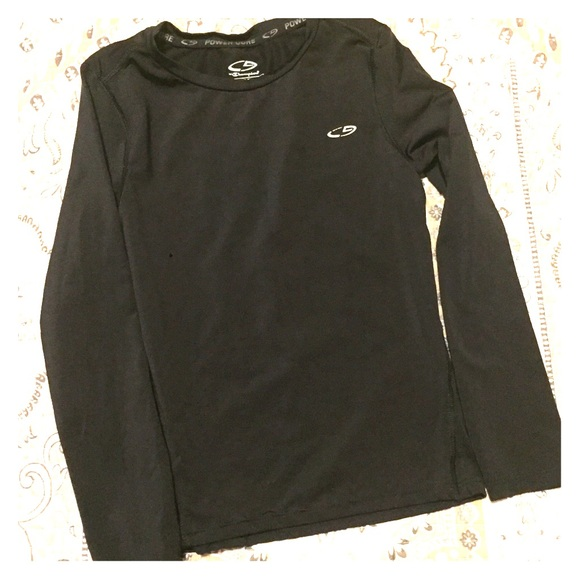 361e74f54 Champion Shirts & Tops | Kids 66x Black Long Sleeved Power Core ...
